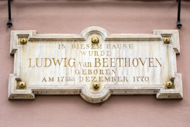 A plaque on the exterior of Beethoven-Haus, or Beethoven House in the city of Bonn, Germany. The plaque says In This House, Ludwig van Beethoven was Born on 17th December 1770.