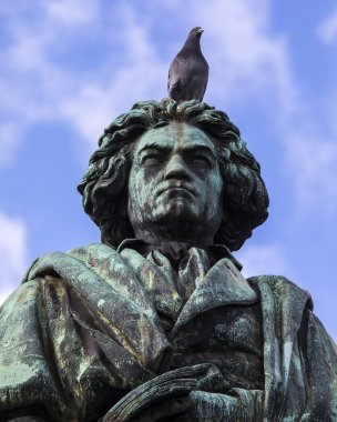 A Pigeon sits on the statue of famous composer Ludwig van Beethoven, located on Munsterplatz in the city of Bonn in Germany.  Bonn was the birthplace of Beethoven in 1770.
