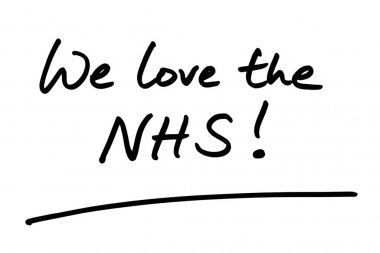 We love the NHS! handwritten on a white background.