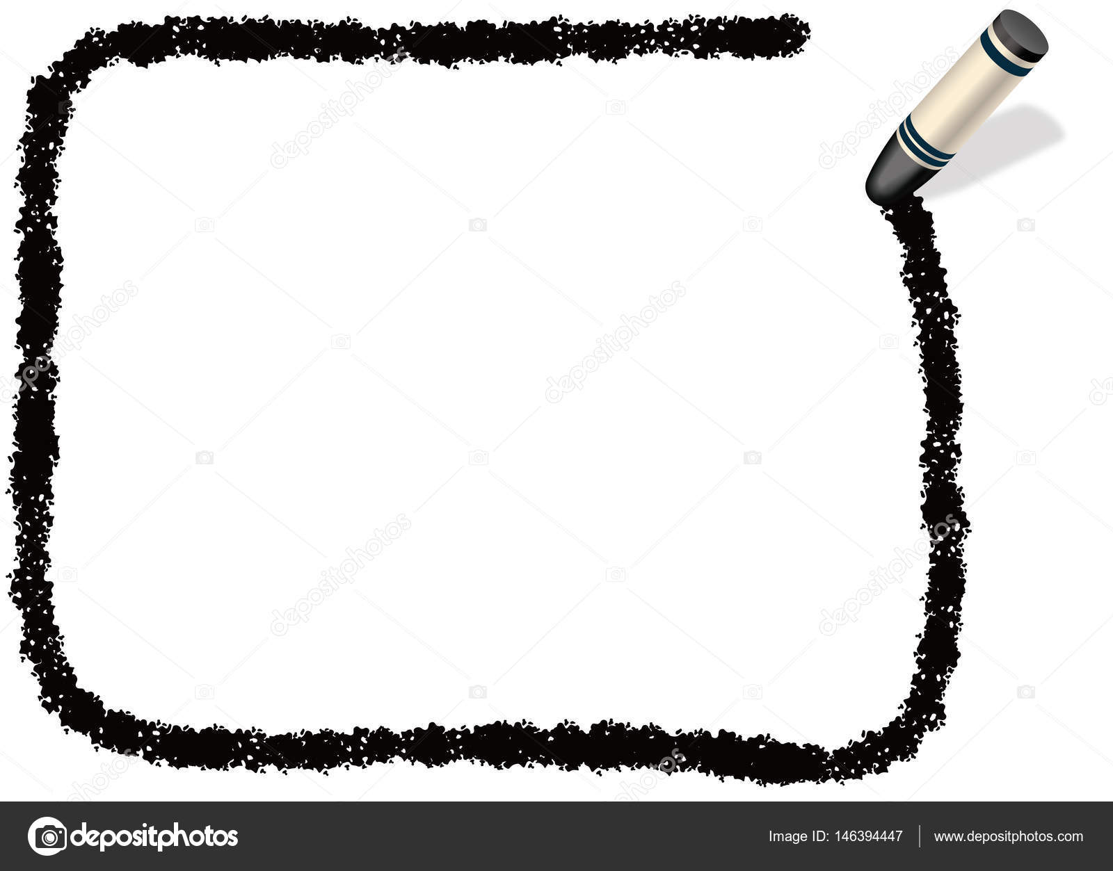 A black, rectangular message frame drew with a black crayon — Stock ...