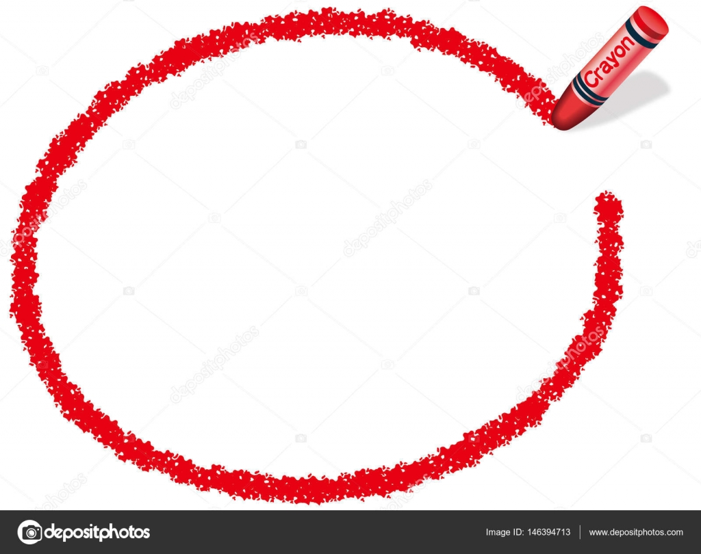A red, ellipsoidal message frame illustration drew with a red crayon ...