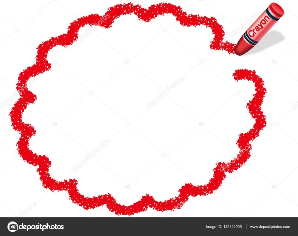 赤いクレヨンで赤い楕円メッセージ フレーム イラストを描いた