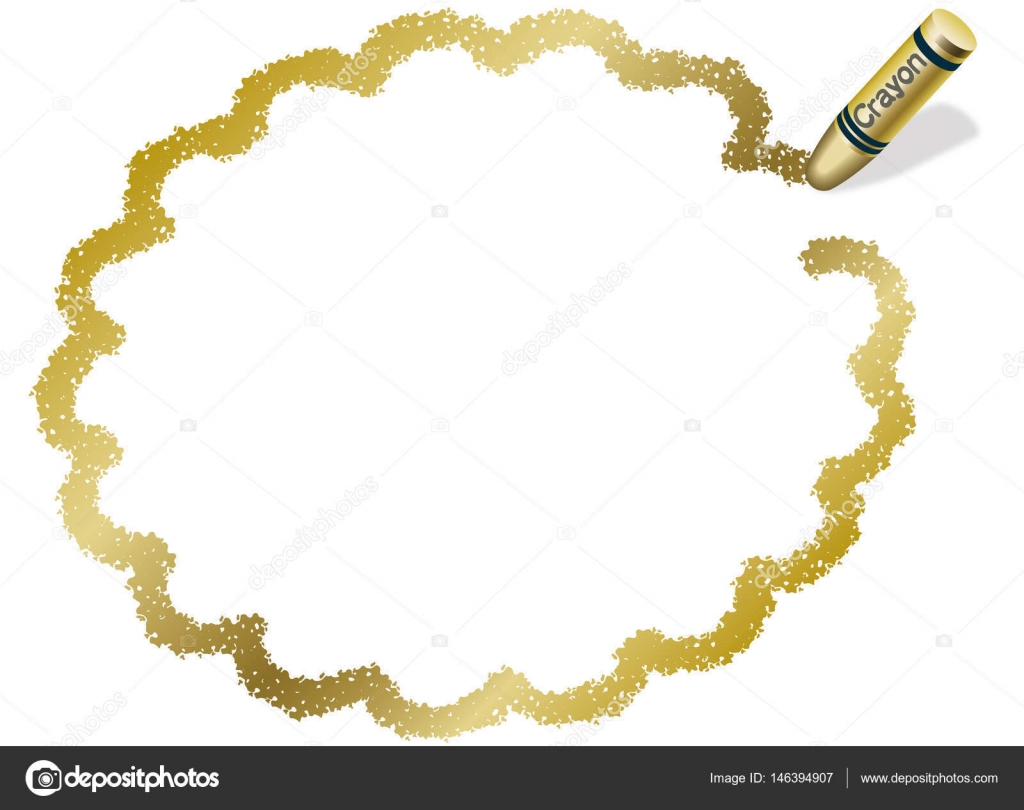 A gold, ellipsoidal message frame illustration drew with a gold ...