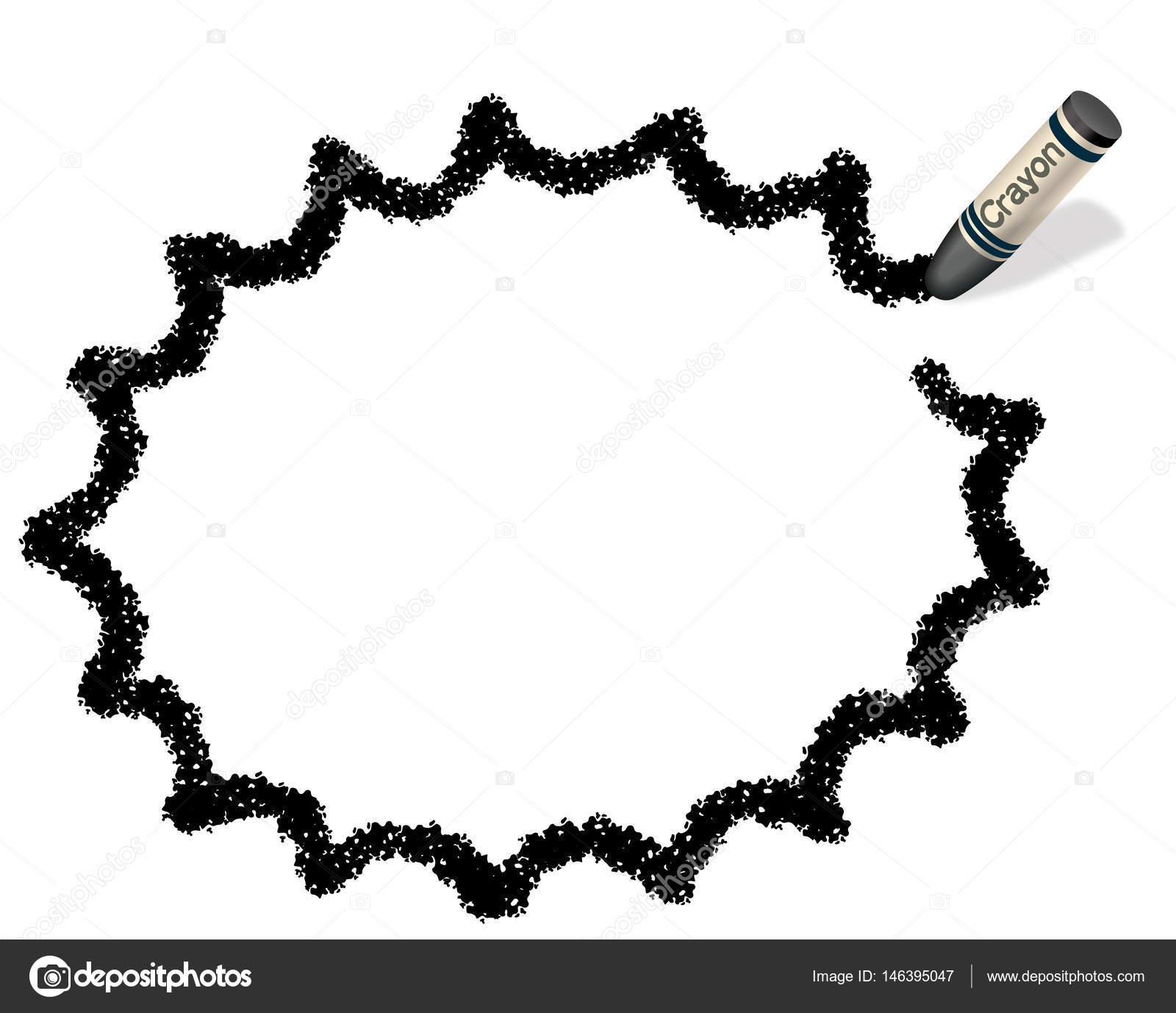 A black, jagged ellipsoid message frame illustration drew with a ...