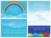 Sada čtyř vektorové pozadí ilustrací déšť, mraky a duha
