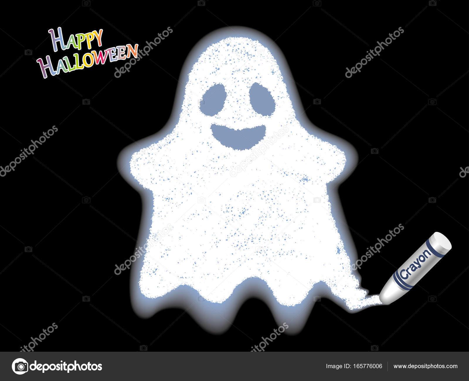 Un illustrazione di vettore del fantasma bianco disegnata con un pennarello  — Vettoriale Stock fc499c09e935
