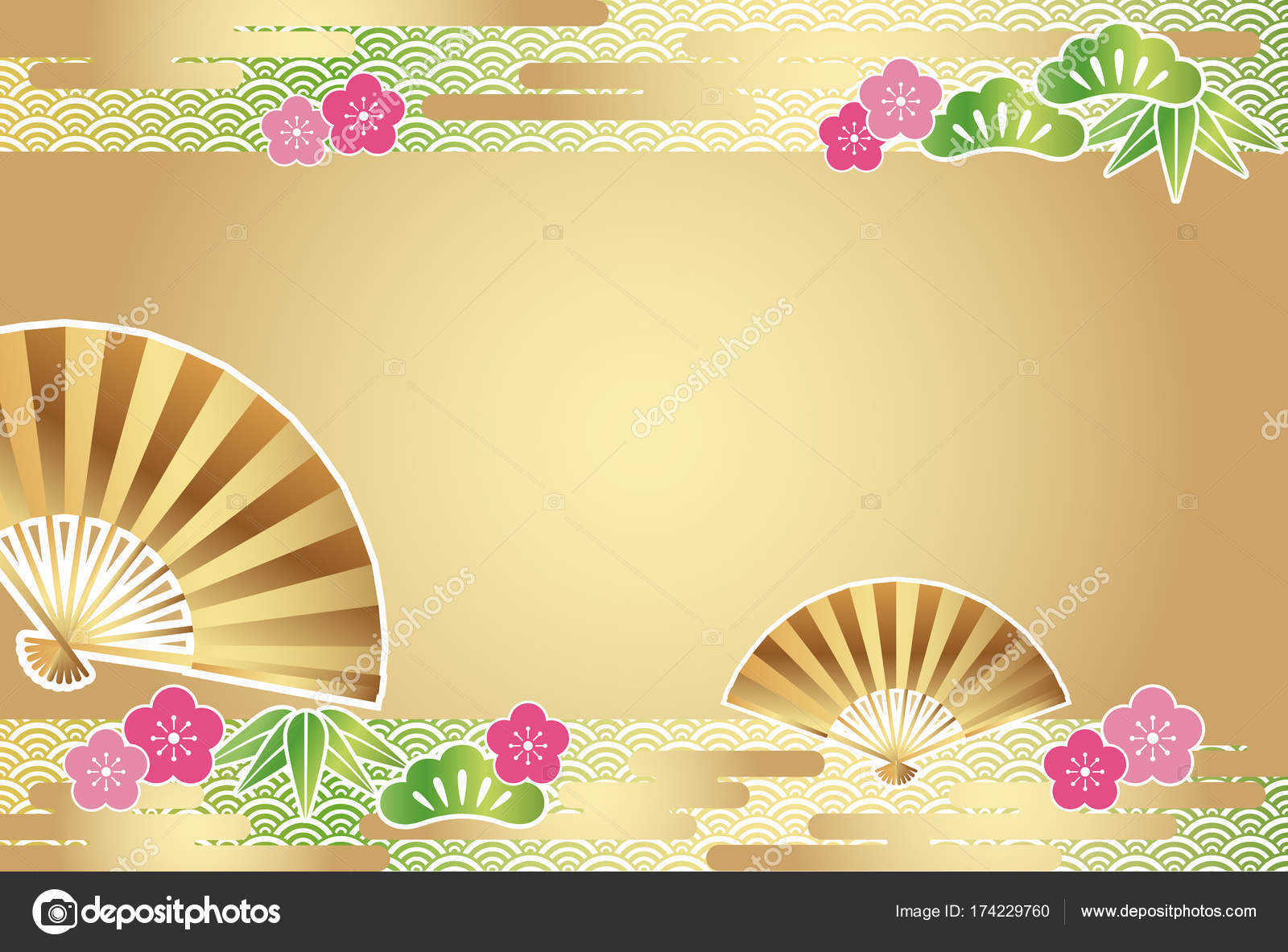 a new year card template with traditionally auspicious items in