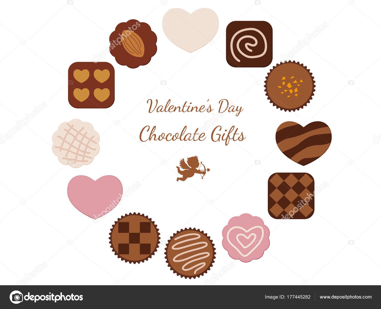 Valentines Day Card Various Chocolates Arranged Frames Vector ...