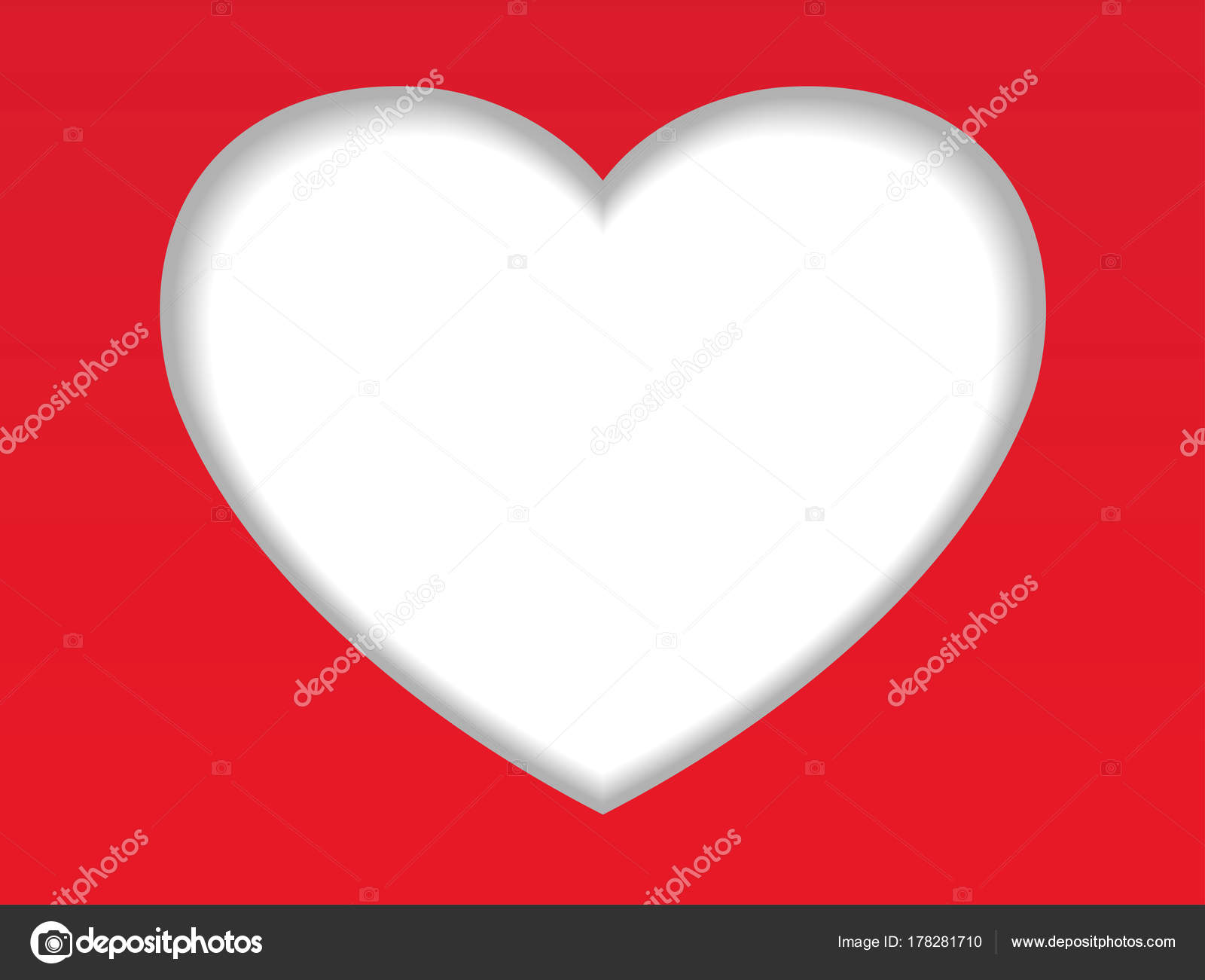 Valentine Day Card Background White Recessed Heart Shape Red