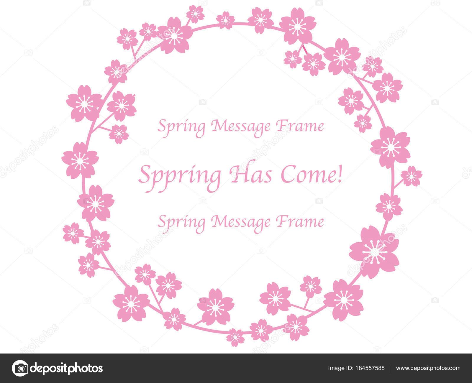 Vector Floral Wreath Cherry Blossom Flower Frame Greetings