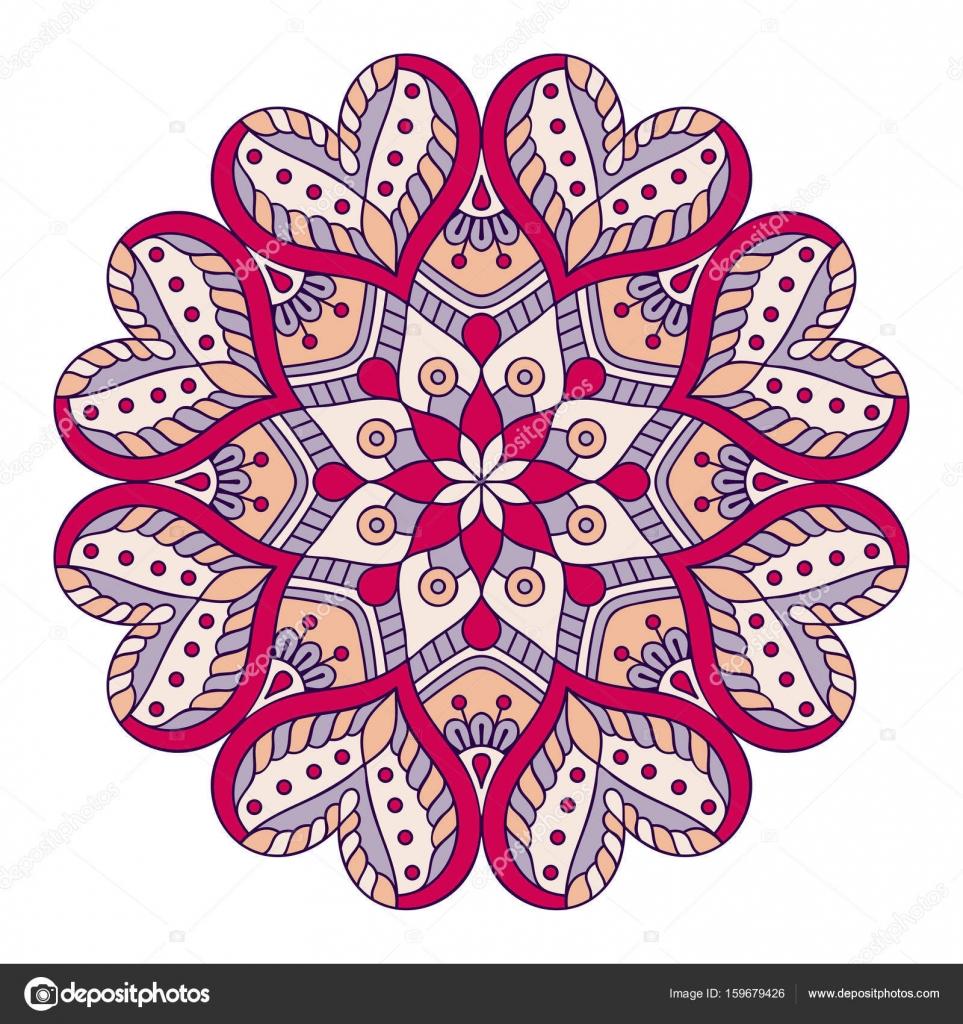 Cicek Mandala Vintage Dekoratif Ogeler Oryantal Desen Vektor