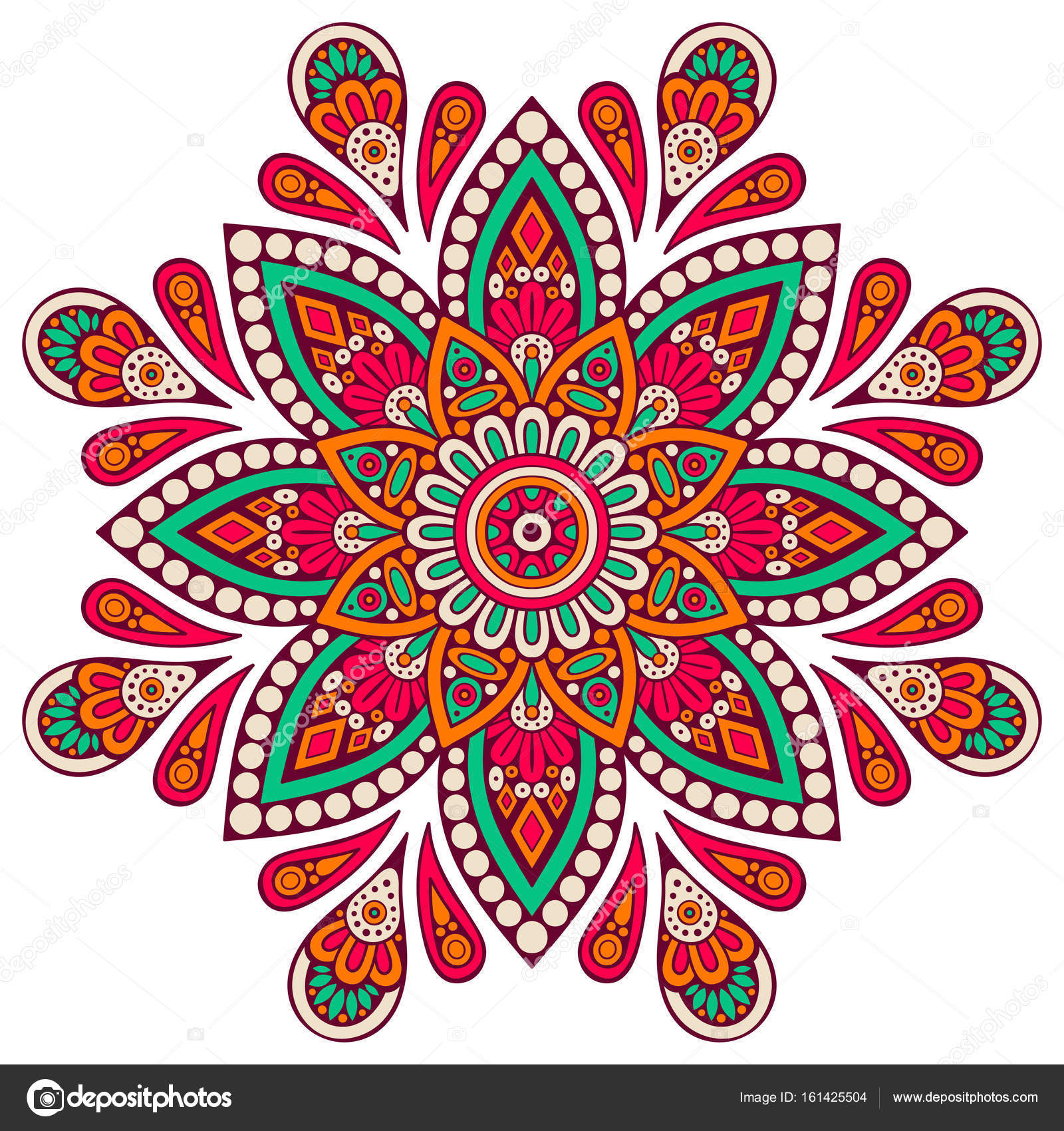 Flower Mandala. Vintage decorative elements. Oriental pattern ...