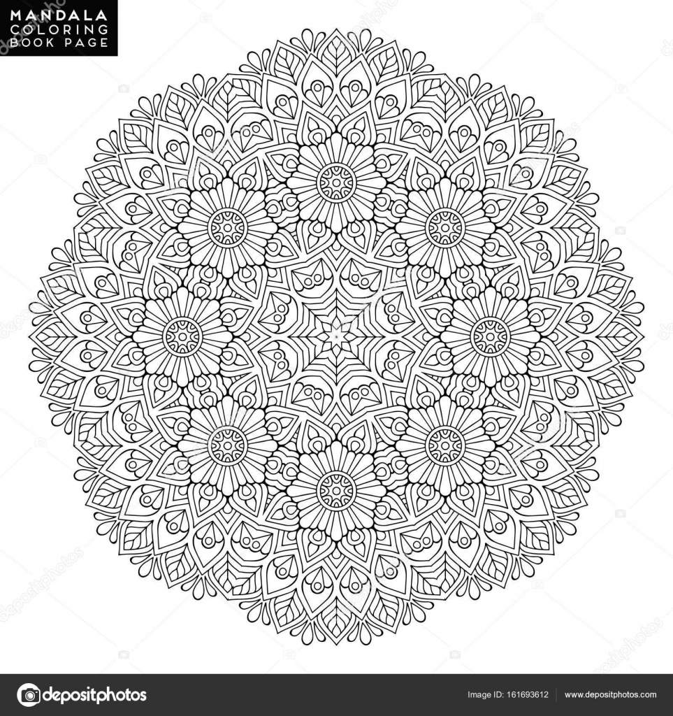 Outline Mandala for coloring book. Decorative round ornament ...