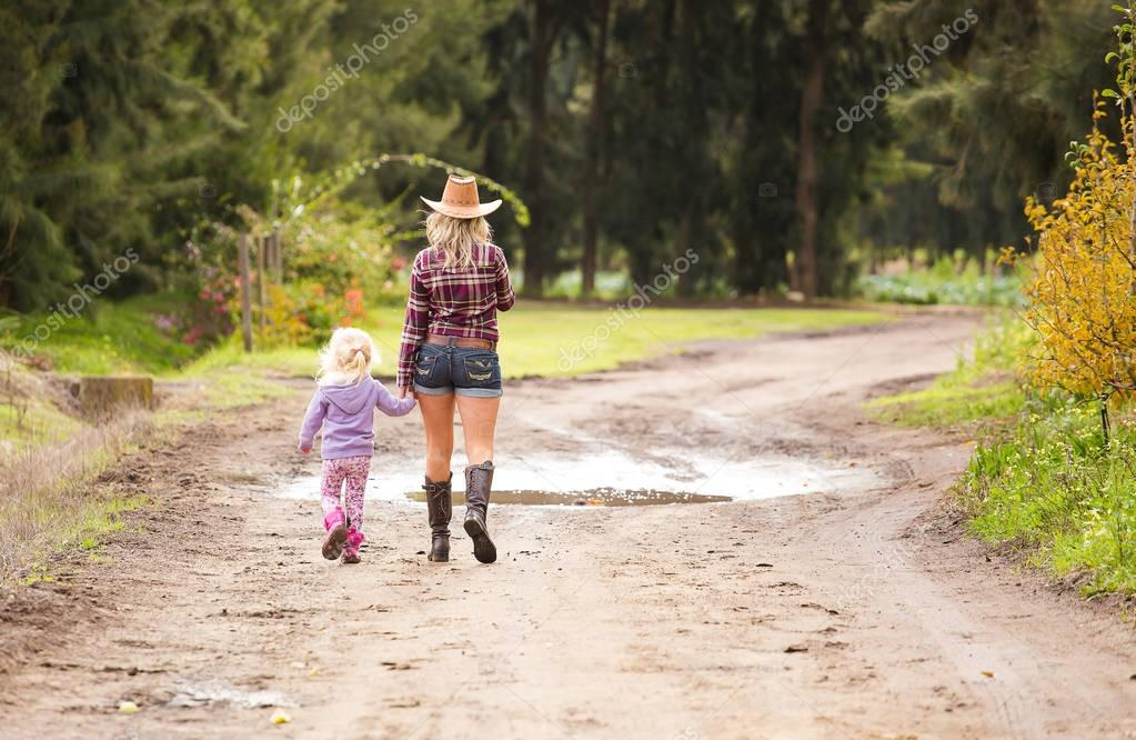 woman  with little girl walking