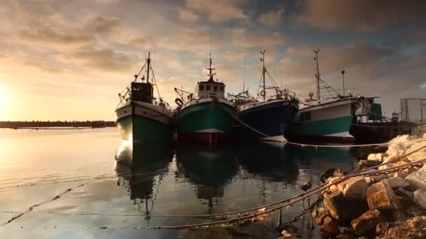 Beautiful fishing boats moored in Gansbaai Harbor with pretty sunset, in Overberg region of South Africa