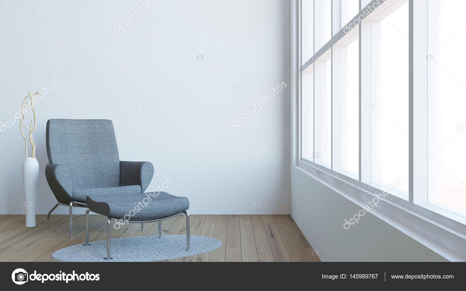 Modern interieur van woonkamer met donkere leunstoel en vaas