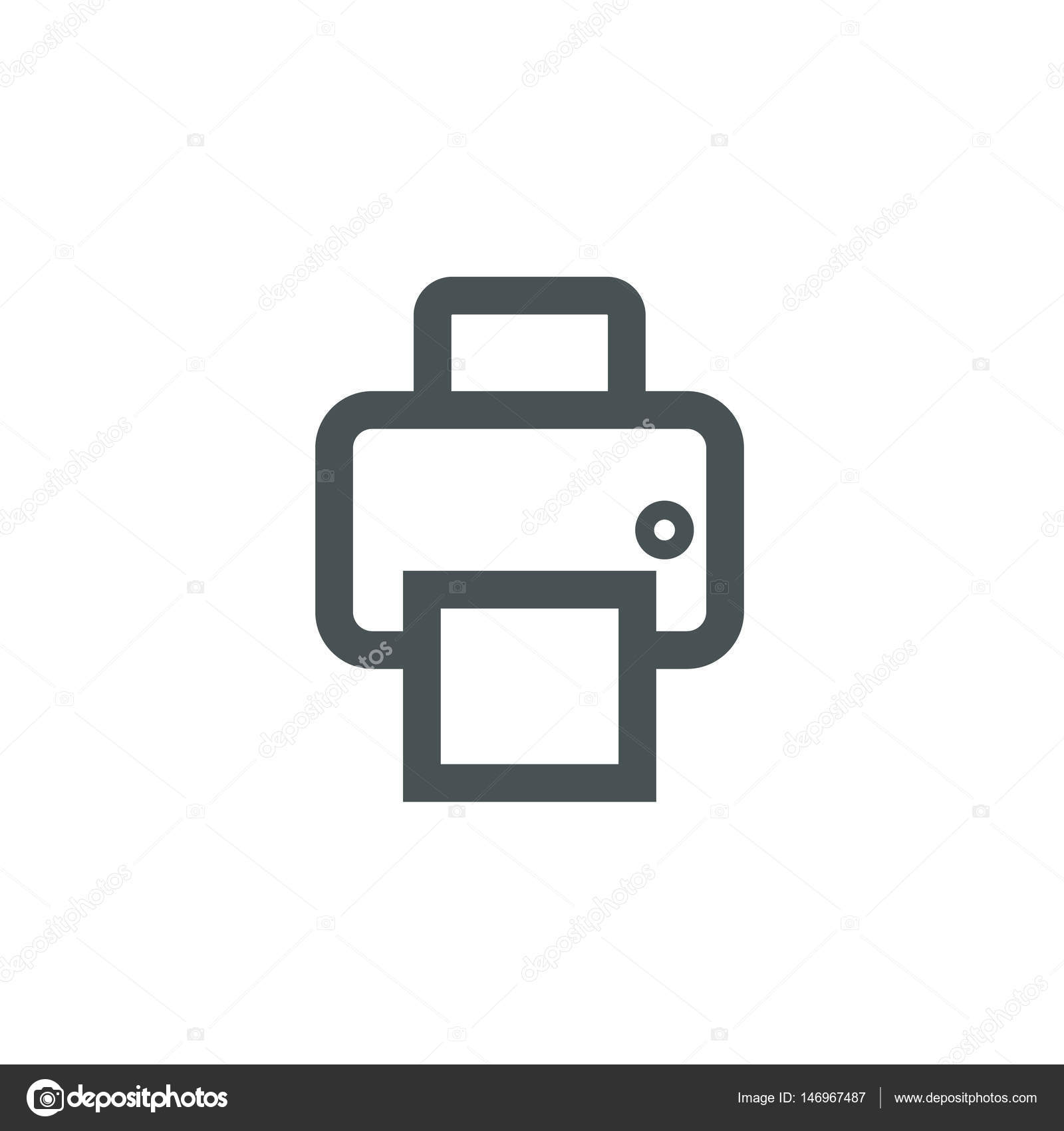 fax icon outline office icon with fax and paper sheet stock vector