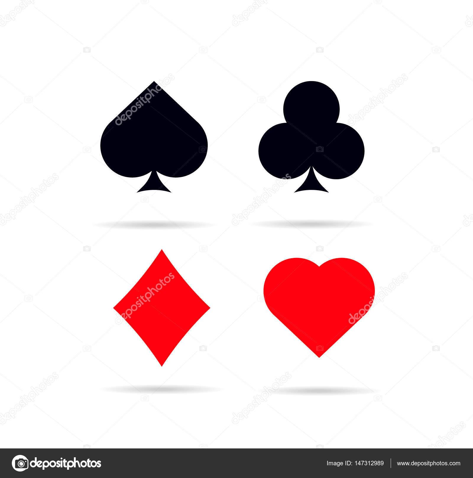 Insieme di simboli di carte da poker. Cuori quadri fiori e picche , foto  simboli poker vettoriali \u2014 Vettoriali di DeziDezi