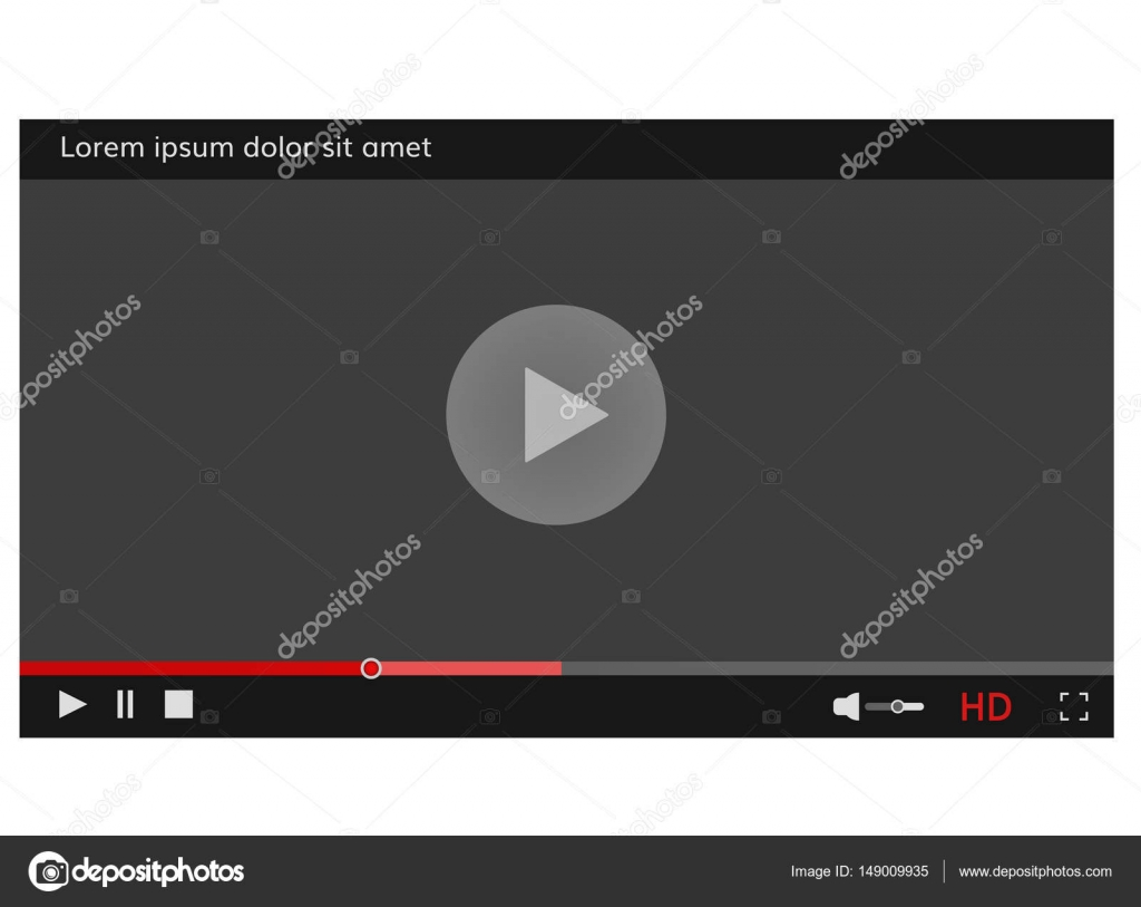 Video-Player Frame Video Player Vorlage-Schnittstelle für Web-site ...