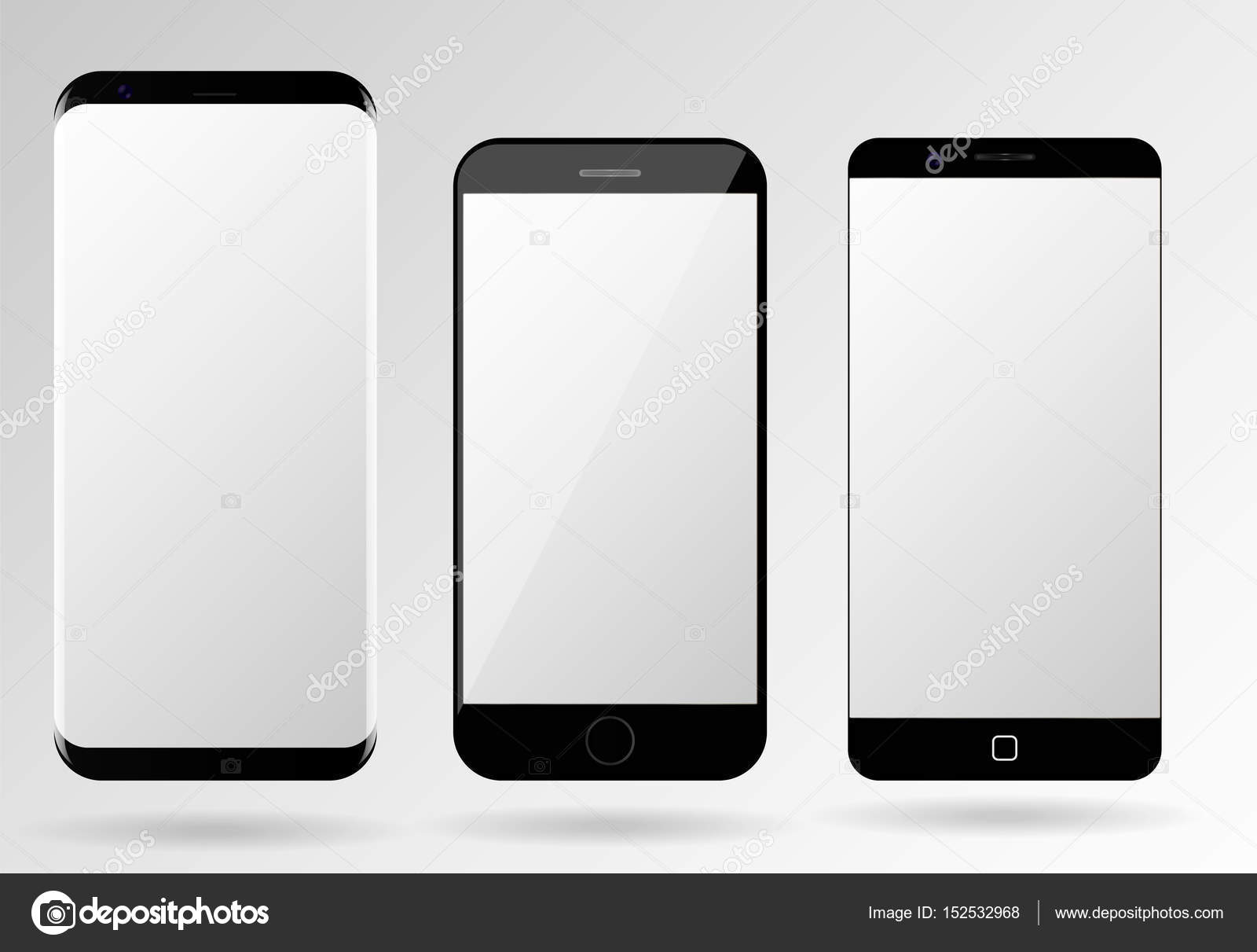 Smartphone Mockup Blank Mobile Phone Template Stock Vector
