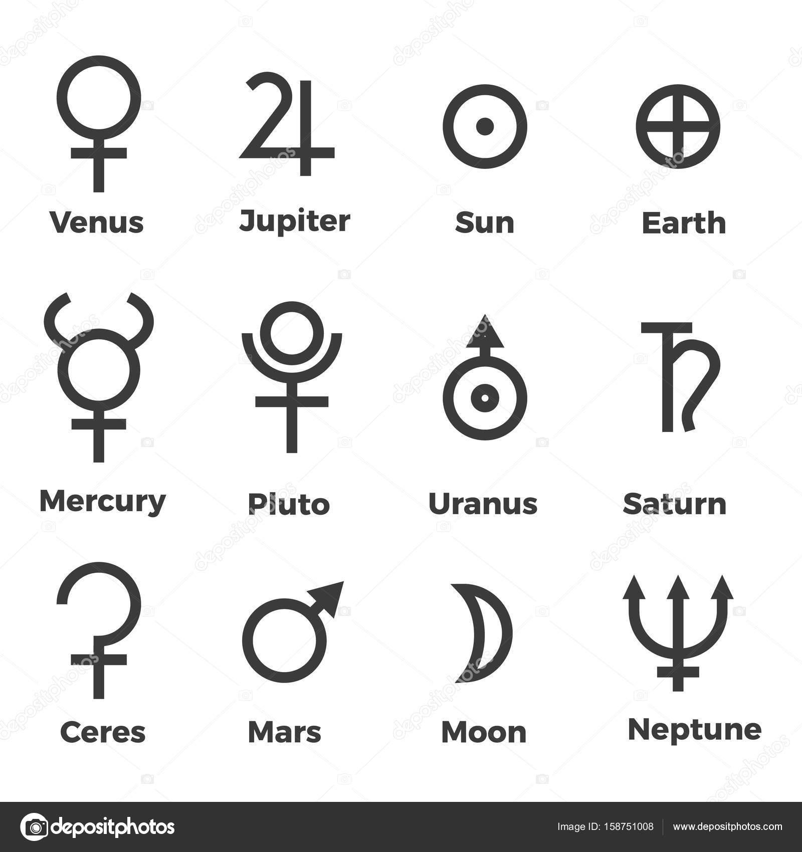 Solar System Planets Icons Set Symbols Stock Vector Dezidezi