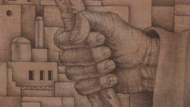 La ville moyen-orientale et dessin à la main — Vidéo propalta ...