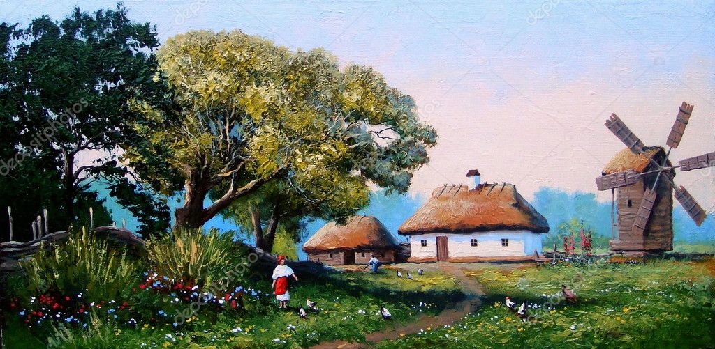 Українське село живопис — стокове фото