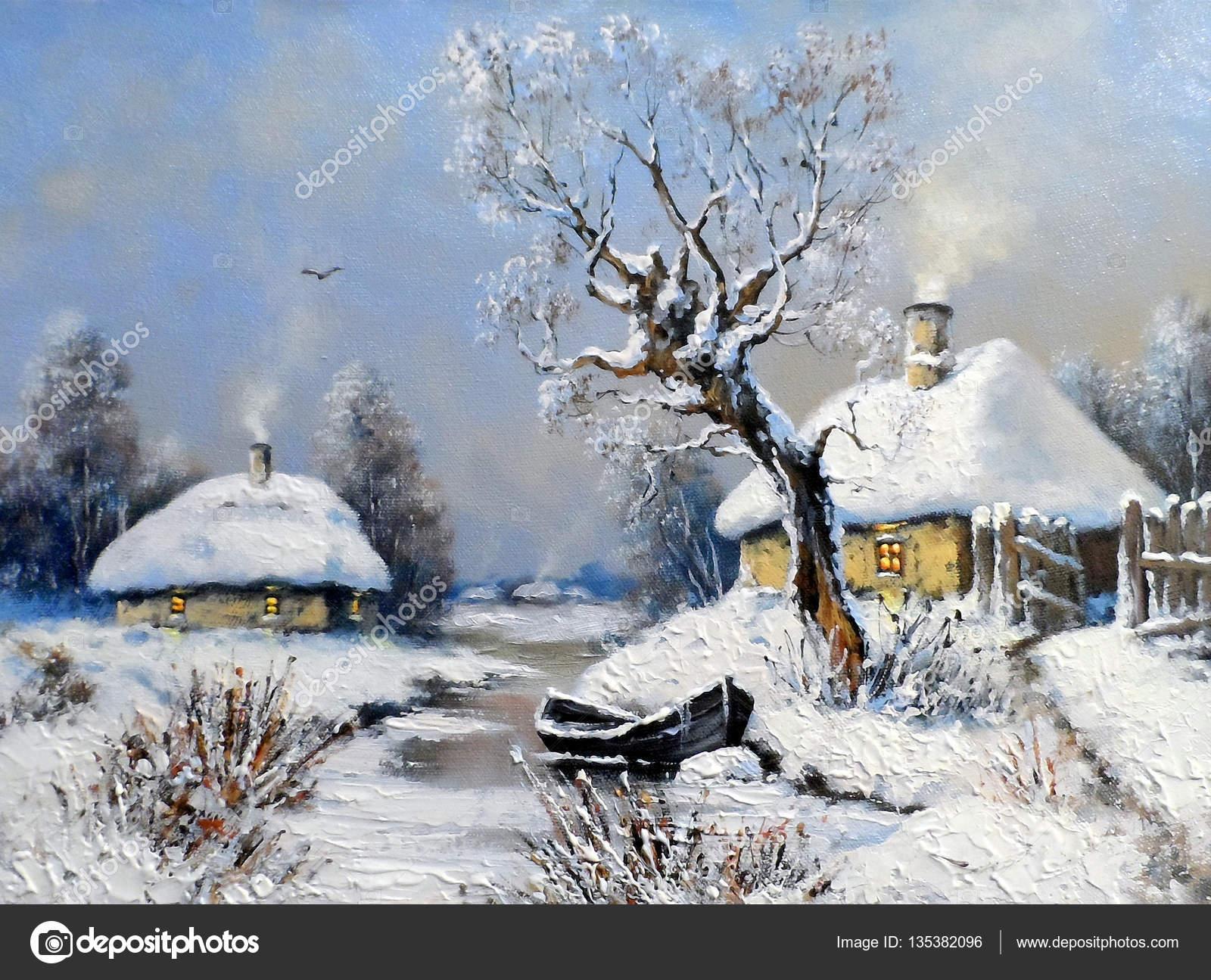 Boyama Kış Manzara Güzel Sanatlar Petrol Stok Foto Yarikkk