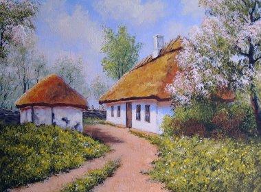 """Картина, постер, плакат, фотообои """"пейзаж масляной живописи, село украина, весна абстракция пейзаж морской"""", артикул 144343375"""