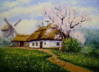 """Картина, постер, плакат, фотообои """"деревня, пейзаж сельской живописи, изобразительное искусство. весна . картина натюрморт арт"""", артикул 181720160"""