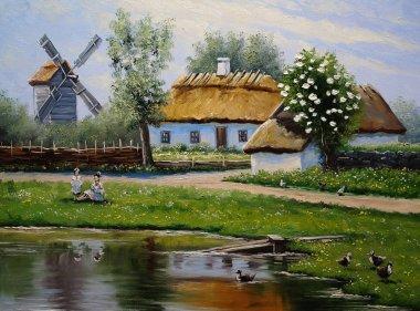 """Картина, постер, плакат, фотообои """"деревня, пейзаж сельской живописи, изобразительное искусство. весна . картина"""", артикул 181720164"""