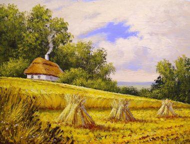 """Картина, постер, плакат, фотообои """"деревенские картины маслом пейзаж, холст. изобразительное искусство картина цветы все"""", артикул 181722174"""