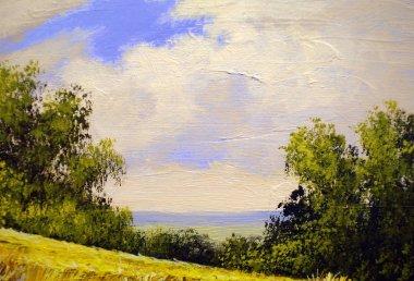 """Картина, постер, плакат, фотообои """"деревенские картины маслом пейзаж, холст. изобразительное искусство картина постеры все"""", артикул 181722178"""