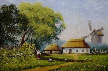 """Картина, постер, плакат, фотообои """"пейзаж, деревня, изобразительное искусство картина цветы"""", артикул 182627894"""