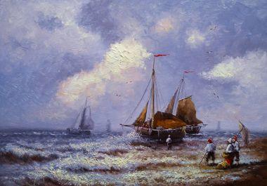 """Картина, постер, плакат, фотообои """"картины маслом морской пейзаж, рыбак, изобразительное искусство, лодки, корабли . пейзаж натюрморт арт"""", артикул 182638052"""