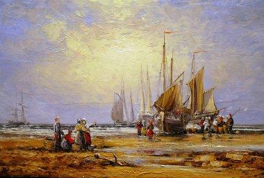 """Картина, постер, плакат, фотообои """"картины маслом морской пейзаж, рыбак, изобразительное искусство, лодки, корабли . картина"""", артикул 182638264"""