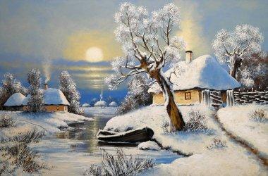 """Картина, постер, плакат, фотообои """"живопись маслом сельский пейзаж, зимний пейзаж с деревьями и снегом, лодка в реке. изобразительное искусство . абстракция пейзаж морской"""", артикул 332429606"""