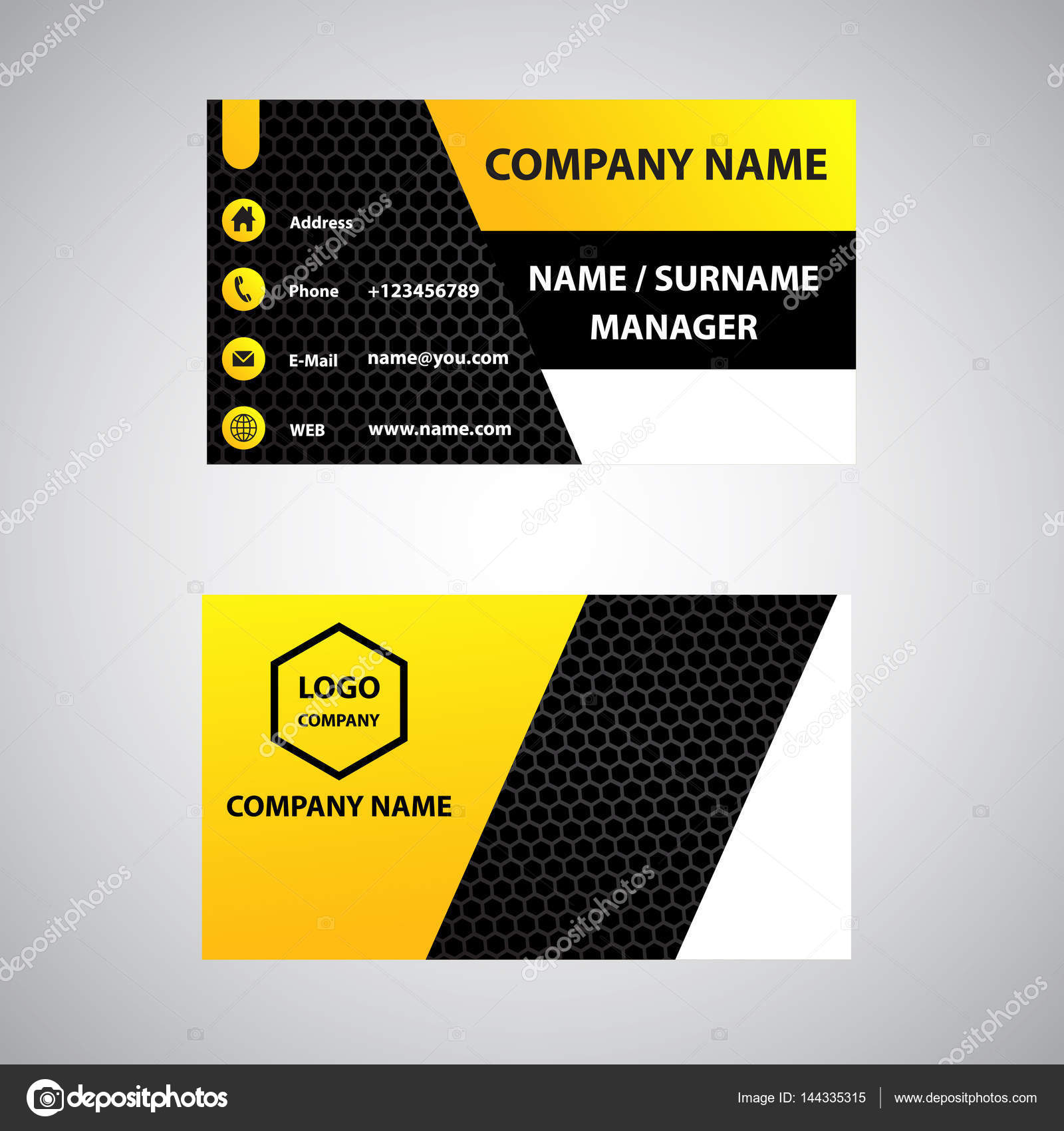 Yellow white and black business card stock vector yellow white and black business card stock vector colourmoves