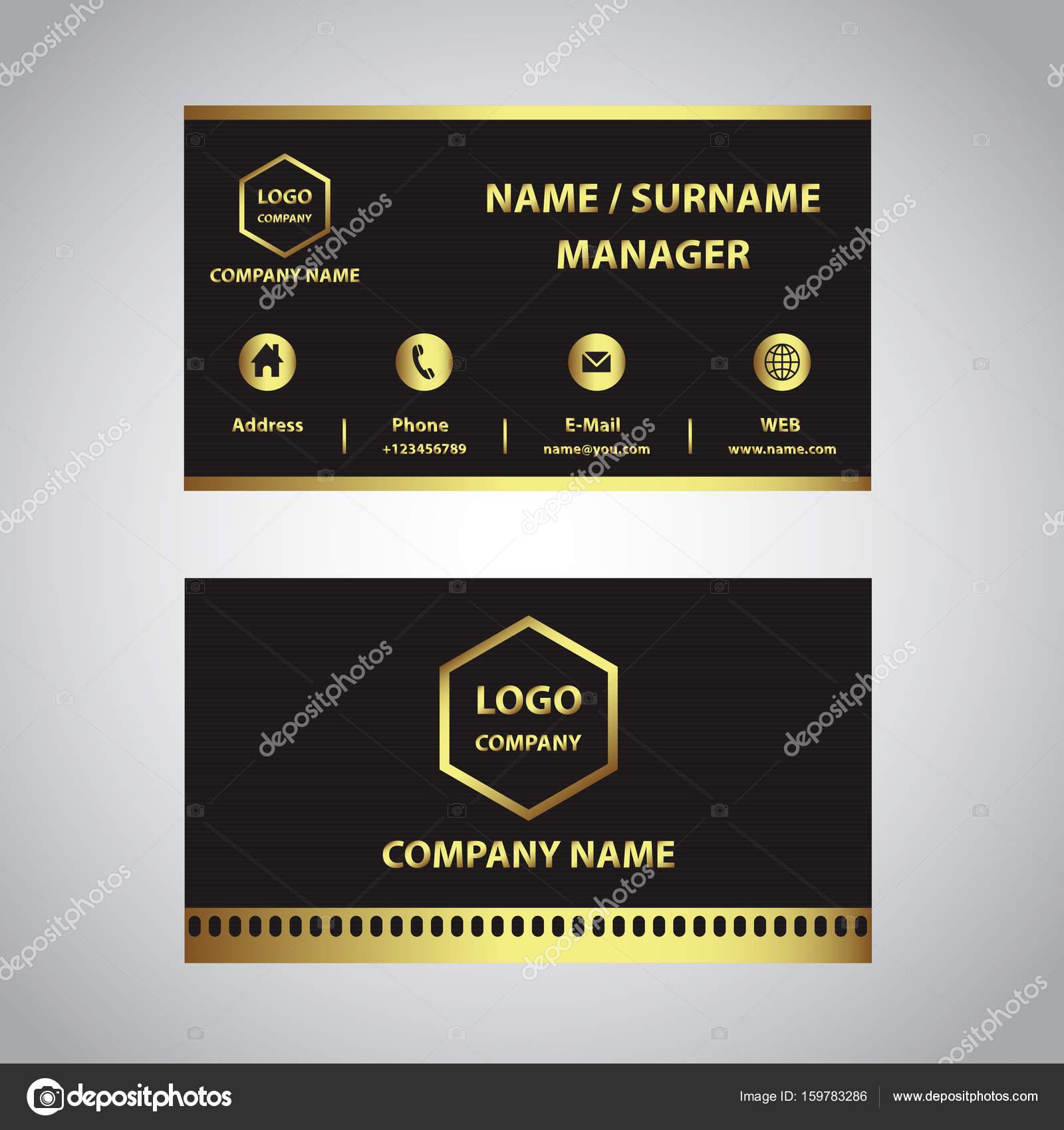 Gold Und Schwarze Visitenkarte Stockvektor