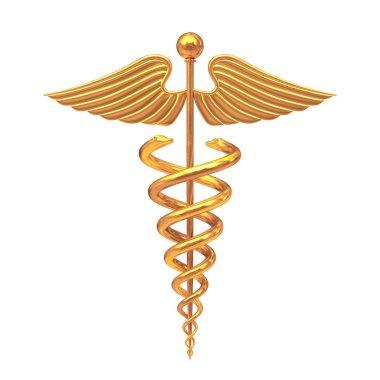 Gold Medical Caduceus Symbol. 3d Rendering