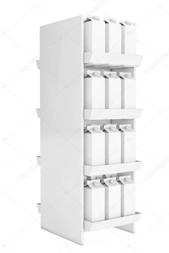 Blank Milk or Juice Carton Boxes in Store Shelf  3d Rendering
