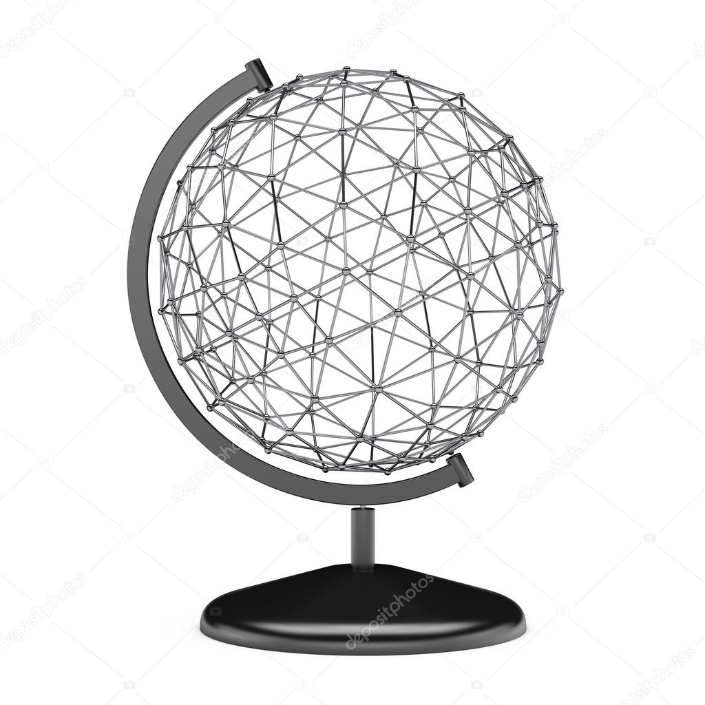 Wire Earth Globe Stand. 3d Rendering — Stock Photo © doomu #128665078