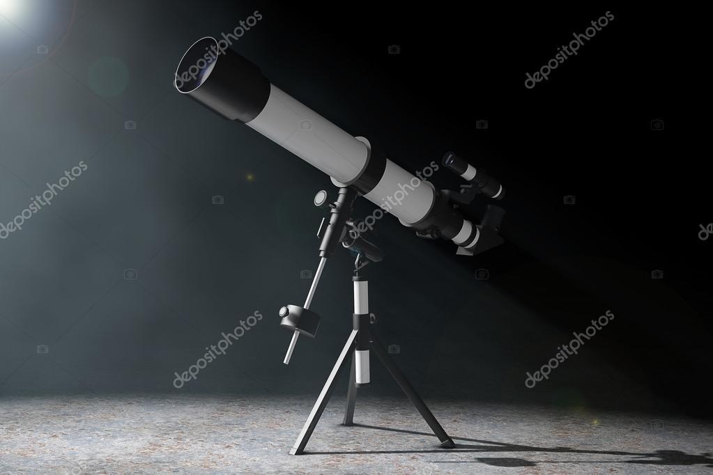 Das volumetrische licht auf stativ teleskop d rendering