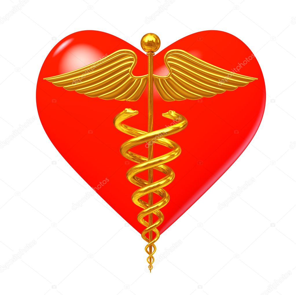 Gold Medical Caduceus Symbol In Front Of Red Heart 3d Rendering