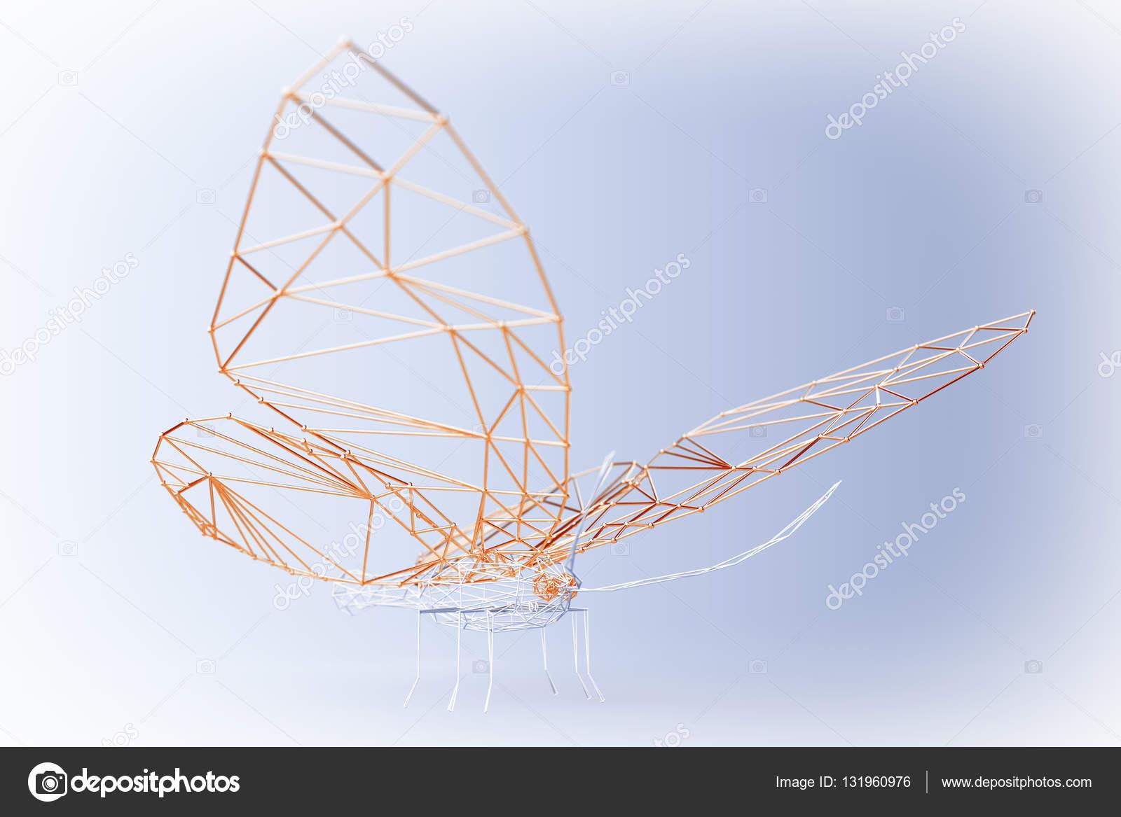Abstrakt verdrahtet Low-Poly-Schmetterling. 3D rendering — Stockfoto ...