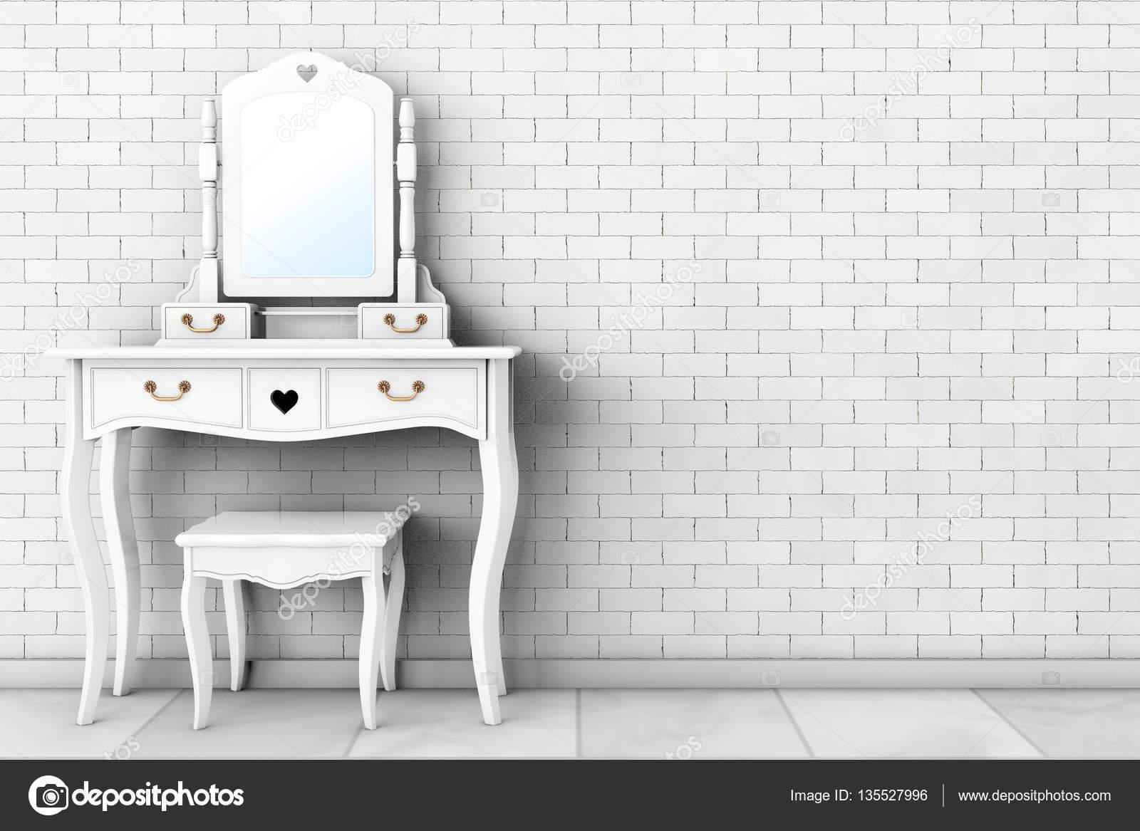 Antikes Schlafzimmer Schminktisch mit Hocker und Spiegel. 3D ...