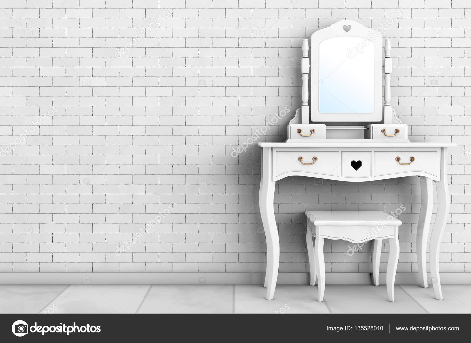 Camera da letto antico tavolo da toeletta con specchio e sgabello