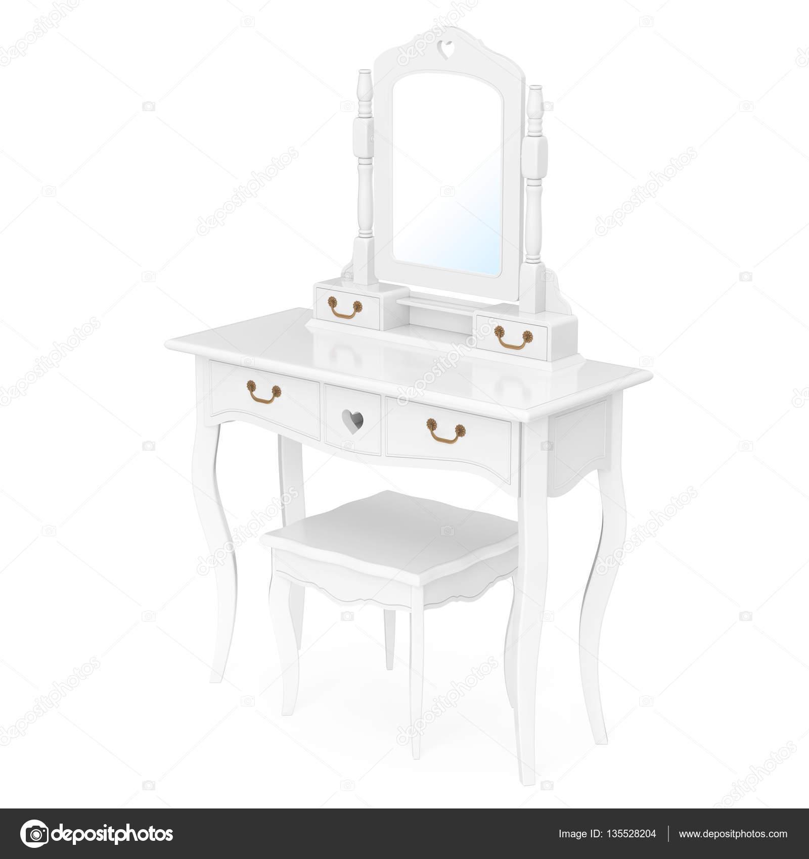 Antieke Witte Kaptafel.Antieke Slaapkamer Kaptafel Met Kruk En Spiegel 3d Rendering