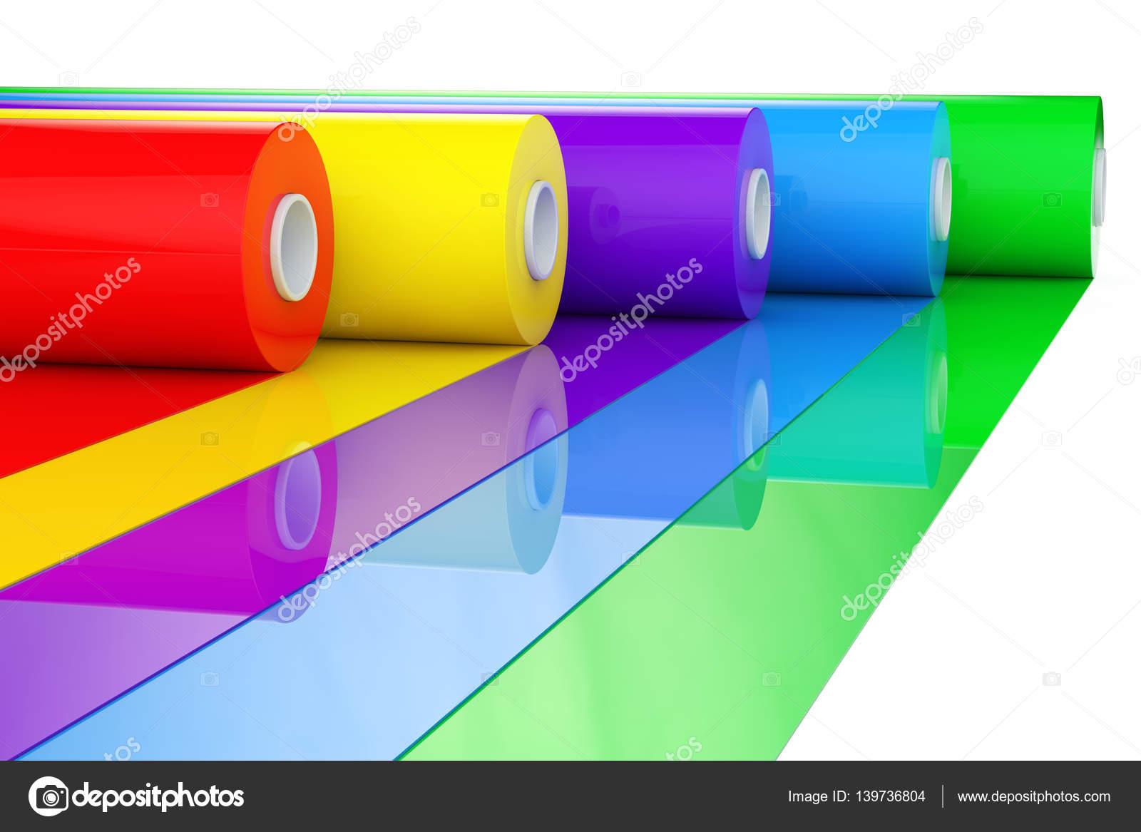 rouleaux de ruban en plastique multicolore poly thyl ne pvc ou aluminium renderin 3d. Black Bedroom Furniture Sets. Home Design Ideas