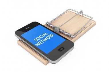 Social Network Addiction Concept. Mobile Phone over Wooden Mouse